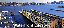 luxury waterfront condos on the Gold Coast Hudson River with New York City NYC views at Riva Pointe in Weehawken, NJ